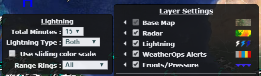 WeatherSentry Settings, including Lightning and Layer settings.