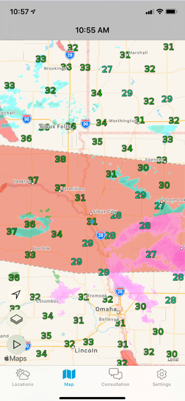 Weathersentry map showing current temperatures for surrounding weather stations/towns/other means of reporting weather conditions. Radar is overlaid as well as weather advisories.