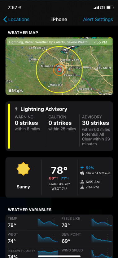 WeatherSentry in Dark Mode with weather conditions displayed for the user's location: iPhone.